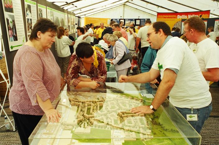 Residents looking at the proposal to develop their neighbourhood