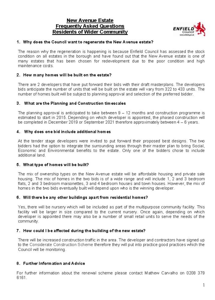 New Avenues - FAQ's  Wider Community 13012014