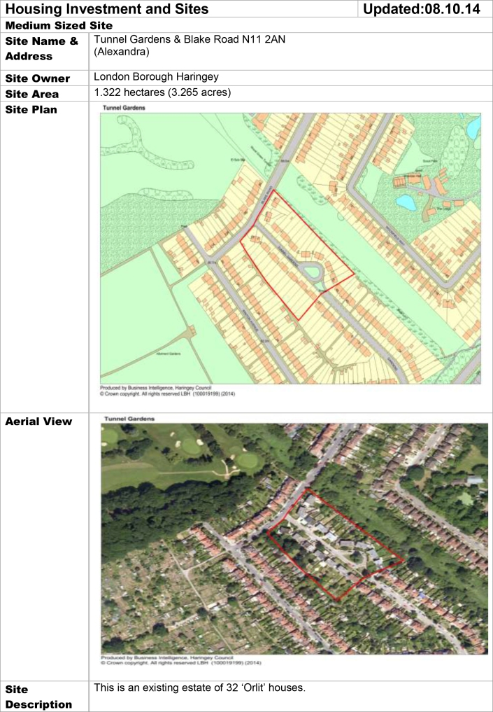 Tunnel Gardens & Blake Road Arial Map