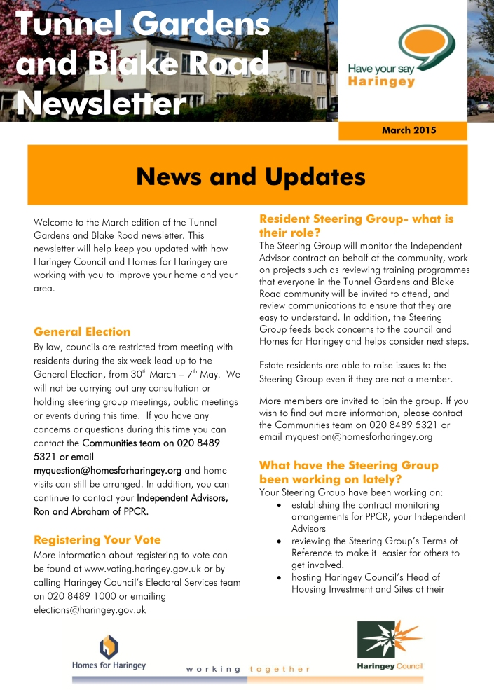 Tunnel Gardens and Blake Road - Newsletter March 2015 p1